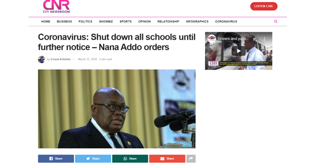 Positive outcomes of cornavirus - President shuts down schools temporarily, online tuturing about to begin
