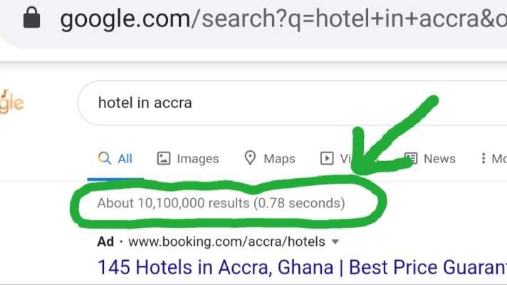 Google results for 'hotels in Ghana' Topic: What is SEO?